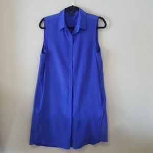 J. Crew Royal Blue Silk Sleeveless Shirtdress